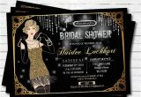 Great Gatsby Bridal Shower Invitations Bridal Shower Invitation Great Gatsby Flapper Black and Gold