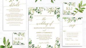 Greenery Wedding Invitation Template Greenery Wedding Invitation Template Green and Gold Etsy