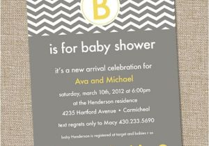 Grey and Yellow Baby Shower Invites Modern Yellow and Gray Baby Shower Invitation Chevron