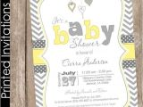 Grey and Yellow Baby Shower Invites Printed Neutral Yellow and Grey Baby Shower Invitation