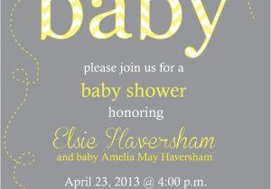 Grey and Yellow Baby Shower Invites Yellow and Gray Baby Shower Chevron Invitation Print