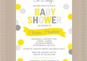 Grey and Yellow Baby Shower Invites Yellow and Gray Baby Shower Invitation Gender by Honeyprint