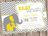 Grey and Yellow Baby Shower Invites Yellow and Gray Elephant Baby Shower Invitation Yellow