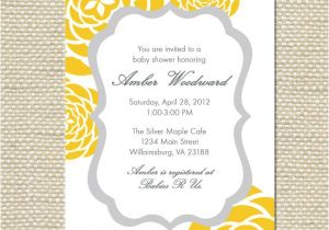 Grey and Yellow Baby Shower Invites Yellow and Gray Grey Baby Shower Invitation by
