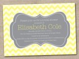 Grey and Yellow Bridal Shower Invitations Printable Bridal Shower Invitations Yellow and Gray Chevron