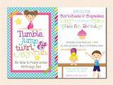 Gym Birthday Party Invitations Gymnastics Birthday Party Invitation Boy Girl Version