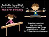 Gym Birthday Party Invitations Gymnastics Birthday Party Invitations for Boys and Girls