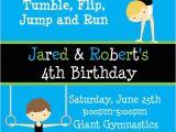 Gym Birthday Party Invitations Printable Birthday Invitations Twins Party Gymnastics themed