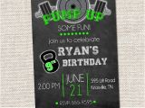 Gym Birthday Party Invitations Weight Lifting Birthday Invitation Crossfit Party