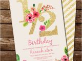 Half Birthday Party Invitations Half Birthday Invitation Gold Glitter Floral Watercolor 1 2