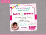 Half Birthday Party Invitations Half Birthday Party Invitation Girl Cupcake 6 by