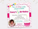 Half Birthday Party Invitations Half Birthday Party Invitation Girl Cupcake 6 Month