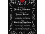 Halloween Bridal Shower Invitations Black White Halloween Skeleton Bridal Shower Card