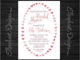 Handwritten Bridal Shower Invitations Bridal Shower Invitation Heart Frame Handwritten Font Red