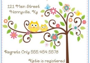 Happi Tree Baby Shower Invitations 20 Happi Tree Owl Baby Shower Invitations Envelopes by