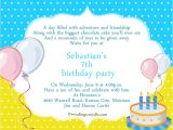 Happy Birthday Invitation Wordings 7th Birthday Invitation orderecigsjuice Info