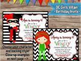 Harley Quinn Birthday Invitations Dc Villain Girls Birthday Invitation Harley Quinn Invite