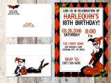 Harley Quinn Birthday Invitations Harley Quinn Invitation Birthday Baby Shower Dc Comics