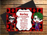 Harley Quinn Birthday Party Invitations Downloadable Harley Quinn the Joker themed Birthday