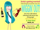 Hat and Wig Party Invitations Personalized Wig theme Bachelorette Party Invitations