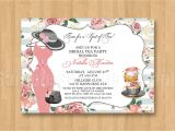 Hat Bridal Shower Invitations Spot Of Tea Fancy Hat Dress Birthday Bridal Shower