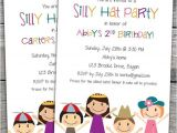 Hat themed Party Invitations Silly Hat themed Birthday Party Invitations Option to Print