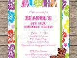 Hawaii theme Party Invites Luau Party Invitations Template Luau Party Party