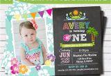 Hawaiian First Birthday Invitations Luau Hawaii Girl First Birthday Party Invitation by