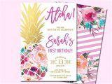 Hawaiian First Birthday Invitations Pineapple Birthday Invitation Tropical Aloha by