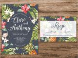 Hawaiian theme Wedding Invitations Hawaiian Wedding Invitation Tropical Wedding Invitation