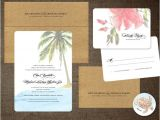 Hawaiian theme Wedding Invitations Palm Tree Wedding Invitations Hibiscus Hawaii Turtle Beach