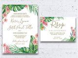 Hawaiian theme Wedding Invitations Tropical Wedding Invitation Beach Wedding by Heartwoodpaperie
