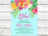 Hawaiian themed Bridal Shower Invitations Templates Luau Bridal Shower Invitation Tropical Invi with Luau