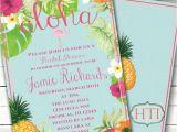 Hawaiian themed Bridal Shower Invitations Templates Luau Invitation Aloha Luau Bridal Shower Hawaii Invitation