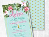 Hawaiian themed Bridal Shower Invitations Templates Tropical Flower Pineapple Bridal Shower Invitation Luau