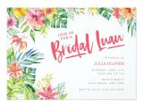 Hawaiian themed Bridal Shower Invitations Templates Tropical Luau Watercolor Bridal Shower Invitation