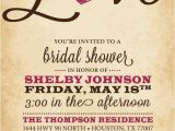 Heart themed Bridal Shower Invitations Rustic Bridal Shower Invitation Love Heart Black Pink