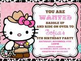 Hello Kitty 2nd Birthday Invitation Wording Cowgirl Hello Kitty Invitation