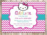 Hello Kitty 2nd Birthday Invitation Wording Hello Kitty Chevron Birthday Invitation 1st Birthday