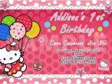Hello Kitty First Birthday Party Invitations Hello Kitty Birthday Party Invitation 1st Customizable