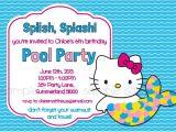 Hello Kitty Pool Party Invitations Hello Kitty Printable Pool Party Birthday Invitation