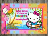 Hello Kitty Pool Party Invitations Pool Party Hello Kitty Birthday Party Invitations by