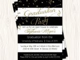 High School Graduation Open House Invitations Gold Glitter Black High School College Graduation Party