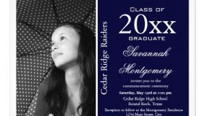High School Graduation Photo Invitations 2014 High School Graduation Announcements Navy Zazzle