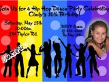 Hip Hop Dance Birthday Party Invitations Hip Hop Dance Birthday Invitation