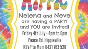 Hippie Invitations Birthday Party Hippie Party Invite Invitation Custom Made Digital