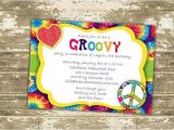 Hippie Party Invitations Groovy Birthday Party Invitation Diy Print at Home