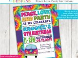 Hippie Party Invitations Tie Dye 60 39 S Hippie Party Invitation Peace Love