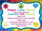Hippie Party Invitations Tie Dye Hippie Chick Birthday Party Invitations