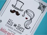His and Hers Bridal Shower Invitations His and Hers Illustrated Wedding Couples Shower Invites